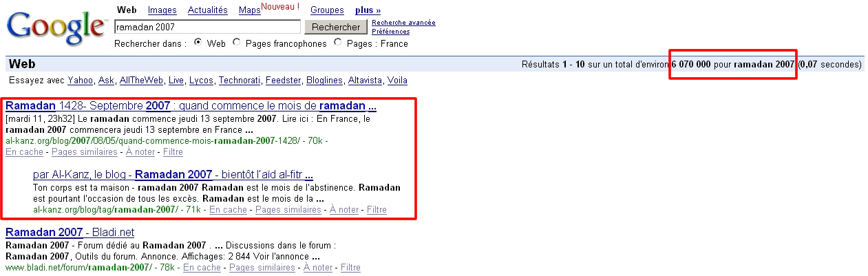premiere place sur google ramadan 2007