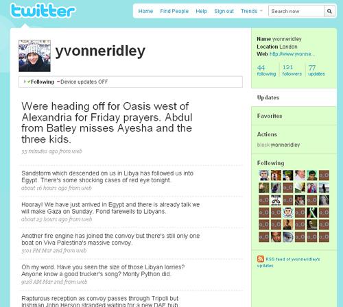 Le Twitter d'Yvonne Ridley, journaliste engagée