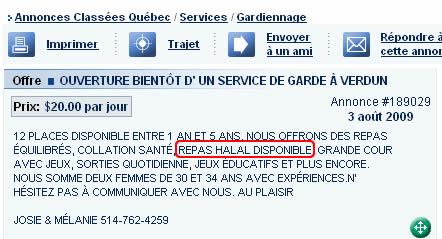 Le halal, argument marketing au Québec aussi