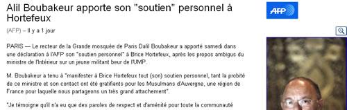 Hortefeux : le D pipé de Dalil Boubakeur