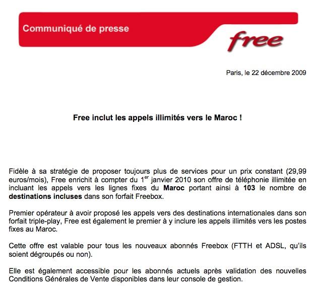 Free inclut les appels illimités vers le Maroc