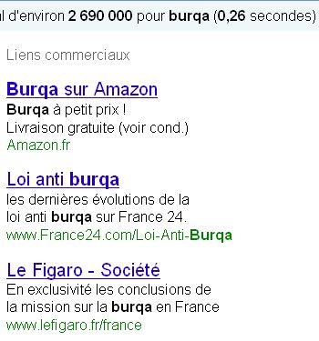 Burqa publicité