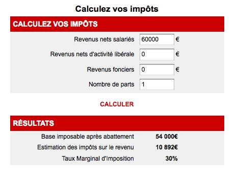 Calculez votre impôt sur le revenu