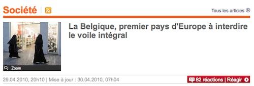 Voile interdit en Belgique : Le Parisien corrige le tir