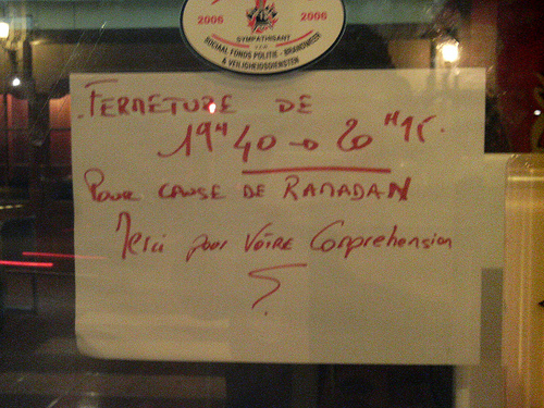 Restaurant fermé pendant ramadan