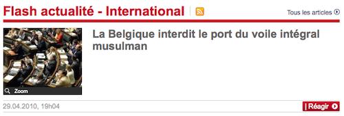 Le Parisien interdit le voile en Belgique