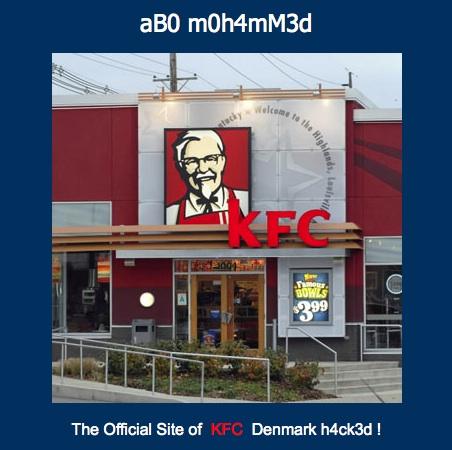 site de KFC Danemark piraté