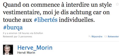 Hervé Morin et le voile intégral (burqa)
