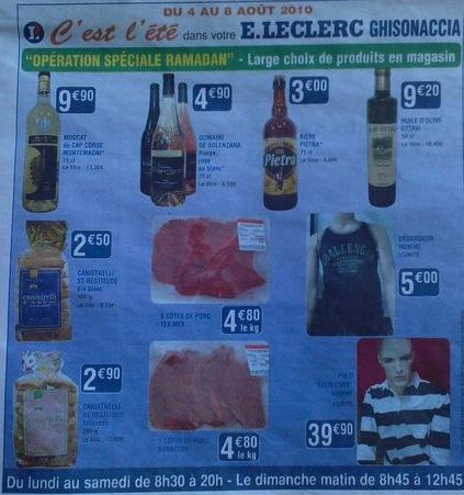 Leclerc : bières et côtes de porc pour ramadan