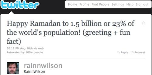 Rainn Wilson ramadan