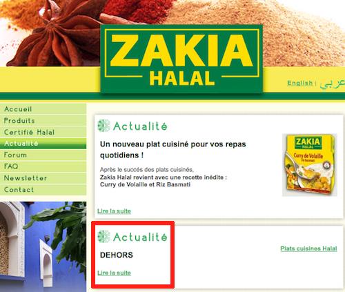 Site Zakia Halal piraté