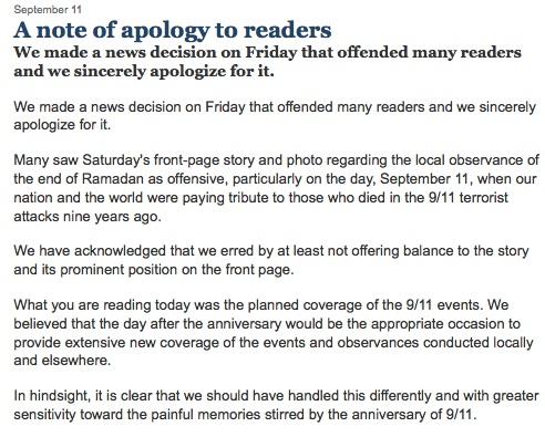 Un journal américain s'excuse d'avoir parlé de l'aïd le 11 septembre