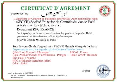 Certificat KFC SFCVH