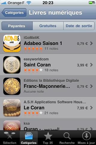 L'appli iPhone ADABéo, numéro du top livres numériques
