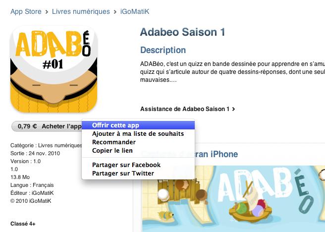 Appli iPhone ADABéo : si vous ne l'achetez pas, offrez-la
