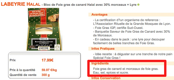 Foie gras Labeyrie halal : Auchandirect supprime la mention