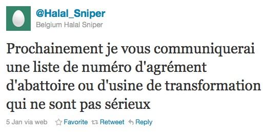 Halal : la Belgique a un sniper