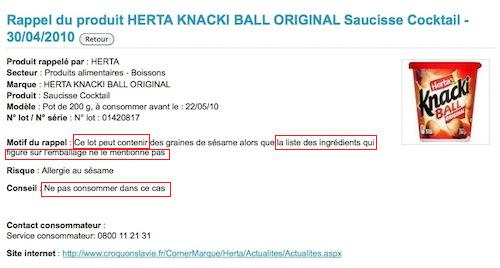 Nestlé rappelle les saucisses Herta