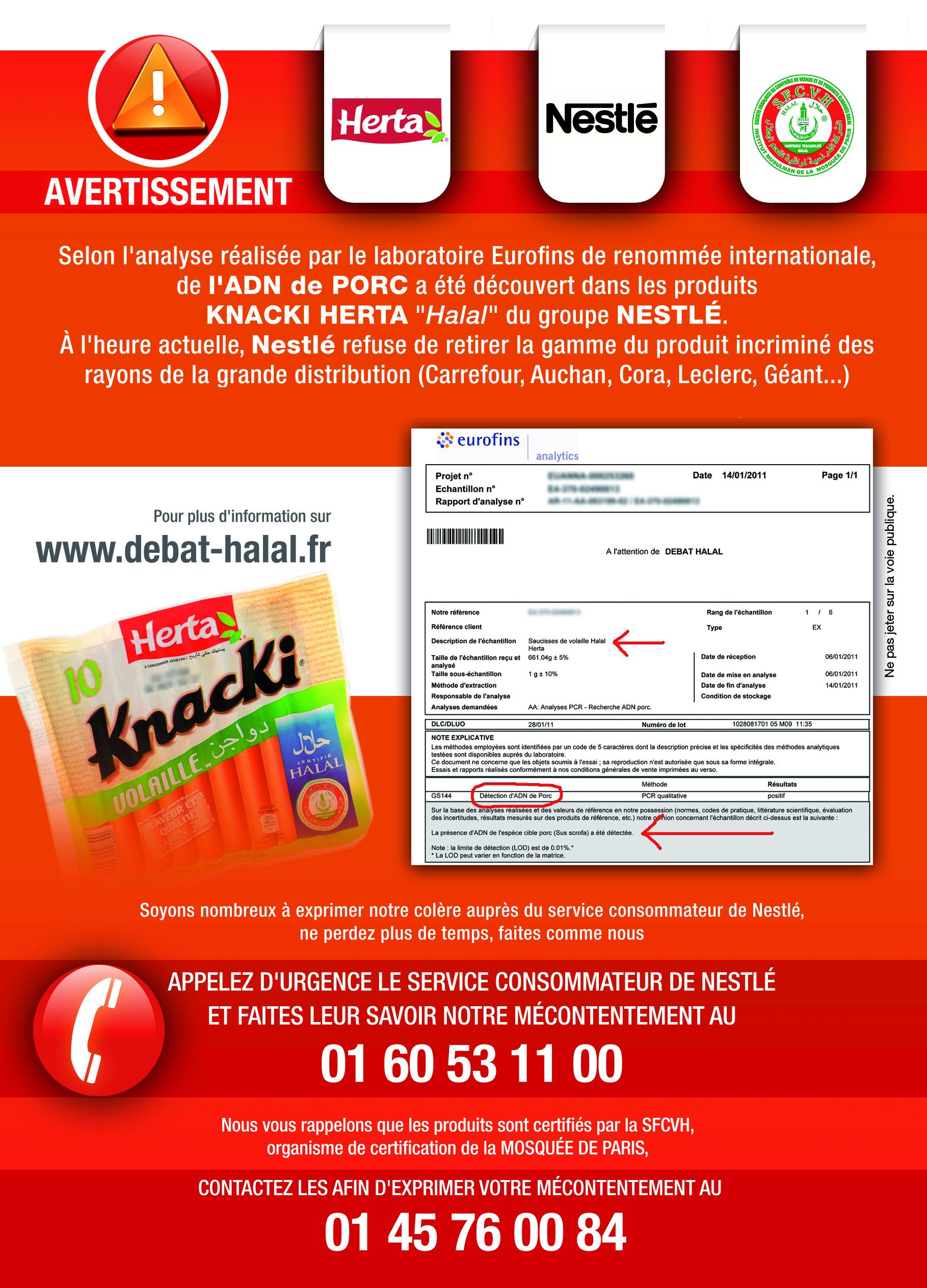 Porc dans Herta halal : distribuez ce tract