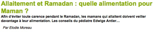 allaitement ramadan