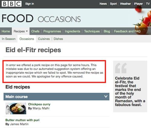 Du porc pour l'aïd : excuses de la BBC
