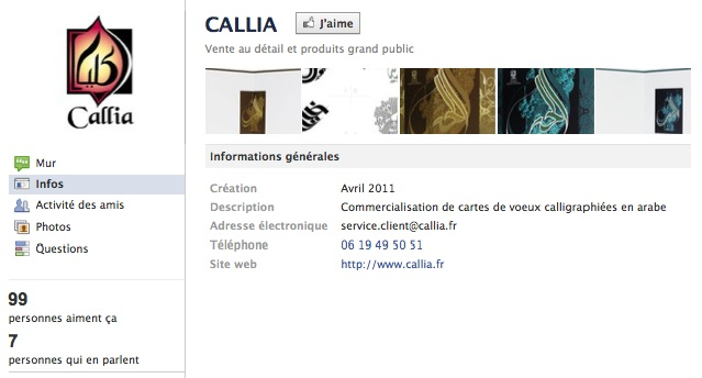Callia - Page Facebook