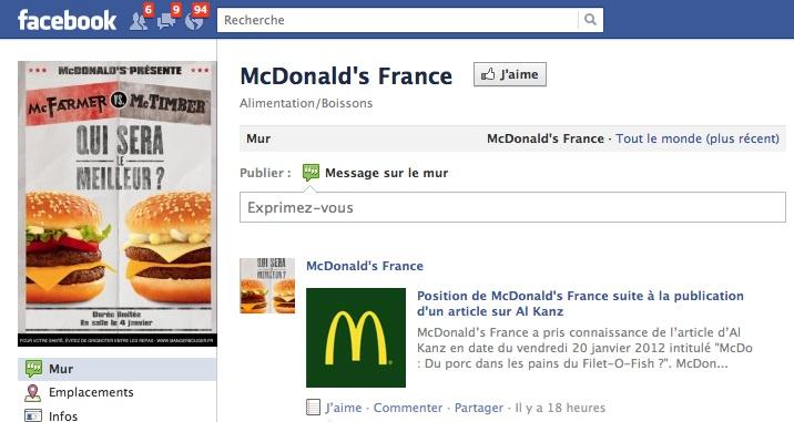 Droit de réponse de McDonald's  France
