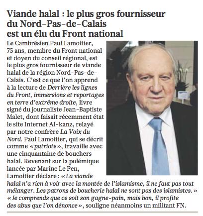 La croisade anti-halal de Le Pen plombée par un de ses lieutenants