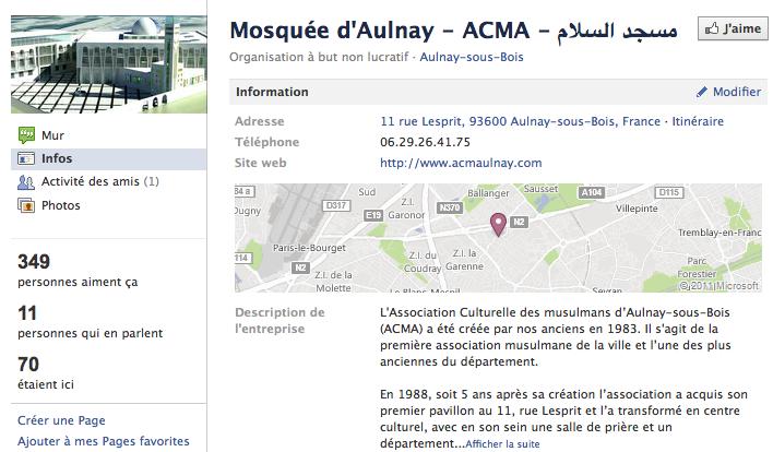 Mosquée de Aulnay - Page Facebook
