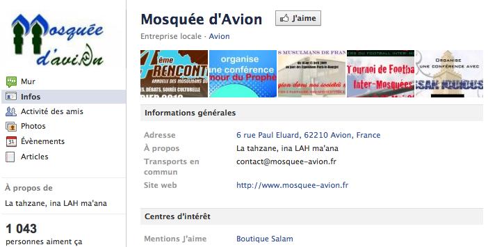 Mosquée de Avion - Page Facebook