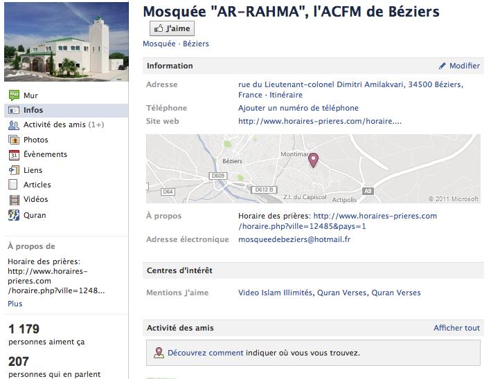 Mosquée de Béziers - Page Facebook