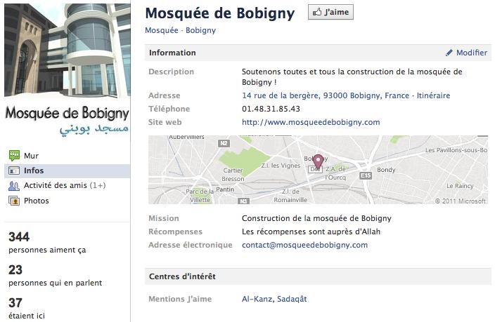 Mosquée de Bobigny - Page Facebook