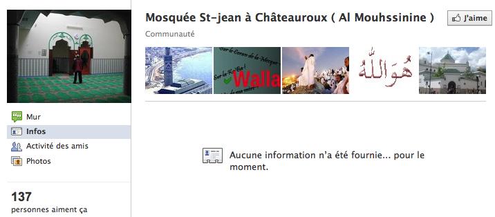 Mosquée de Châteauroux - Page Facebook