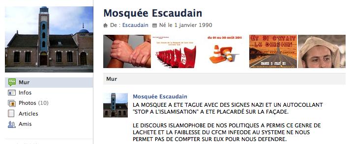 Mosquée d'Escaudain : profanation