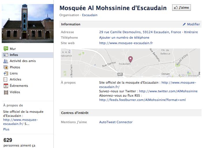 Mosquée de Escaudain - Page Facebook
