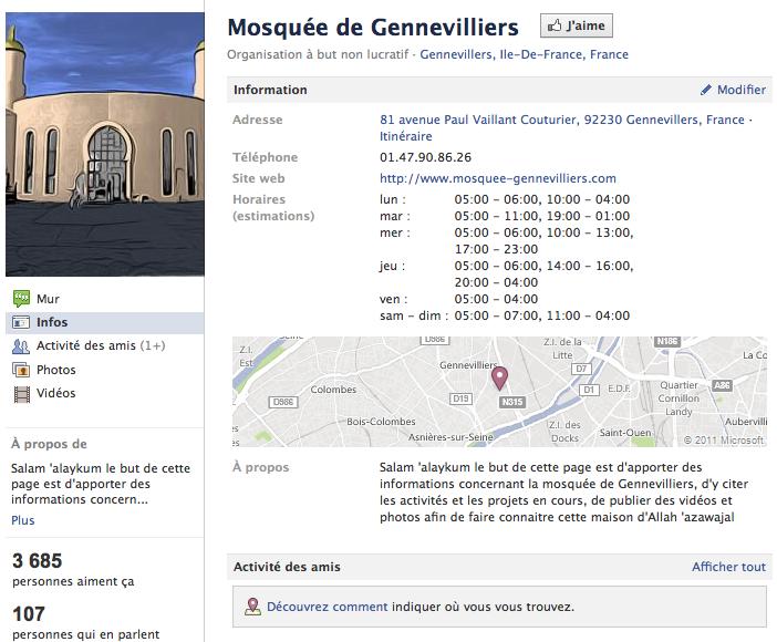 Mosquée de Gennevilliers - Page Facebook