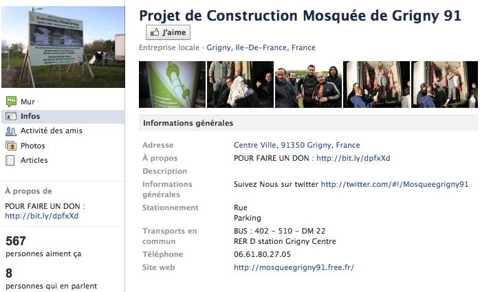Mosquée de Grigny - Page Facebook