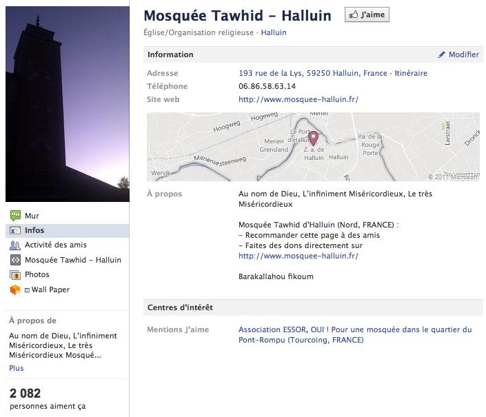 Mosquée de Halluin - Page Facebook