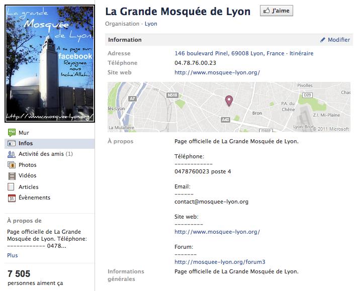 Mosquée de Lyon - Page Facebook
