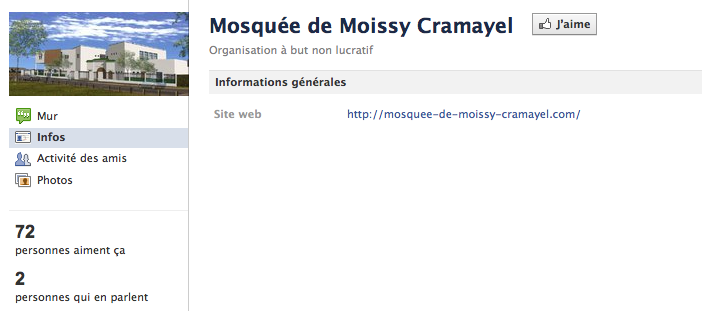 Mosquée de Moissy-Cramayel - Page Facebook