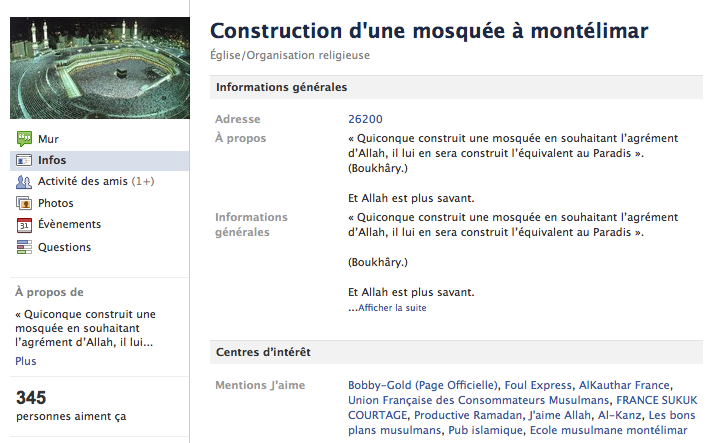 Mosquée de Montélimar - Page Facebook