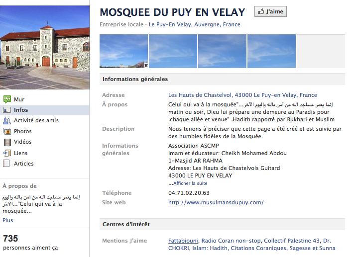 Mosquée de Puy-en-Velay - Page Facebook