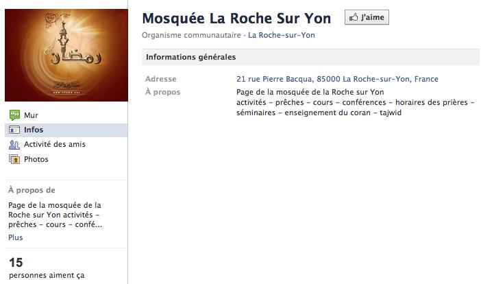 Mosquée de la Roche-sur-Yon - Page Facebook