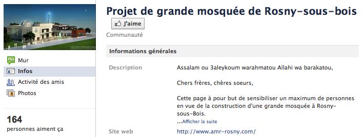 Mosquée de Rosny-sous-Bois - Page Facebook