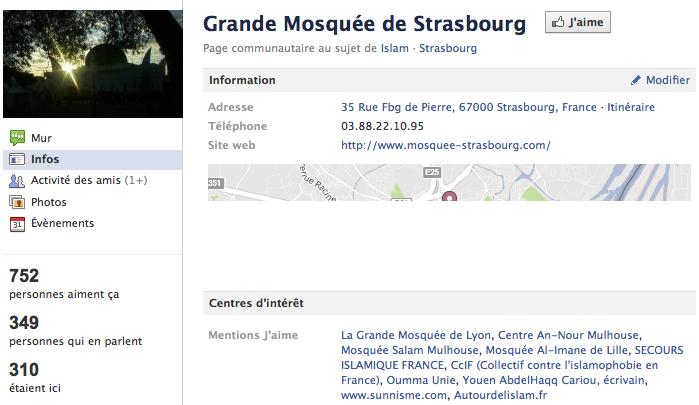 Mosquée de Strasbourg - Page Facebook