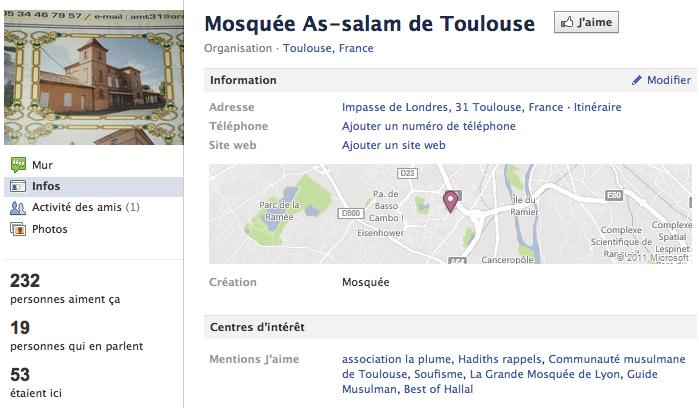 Mosquée de Toulouse - Page Facebook