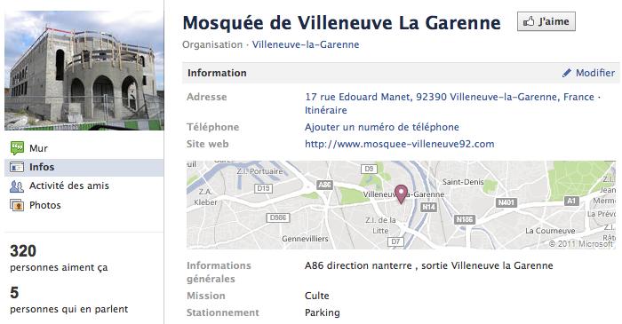 Mosquée de Villeneuve-la-Garenne - Page Facebook