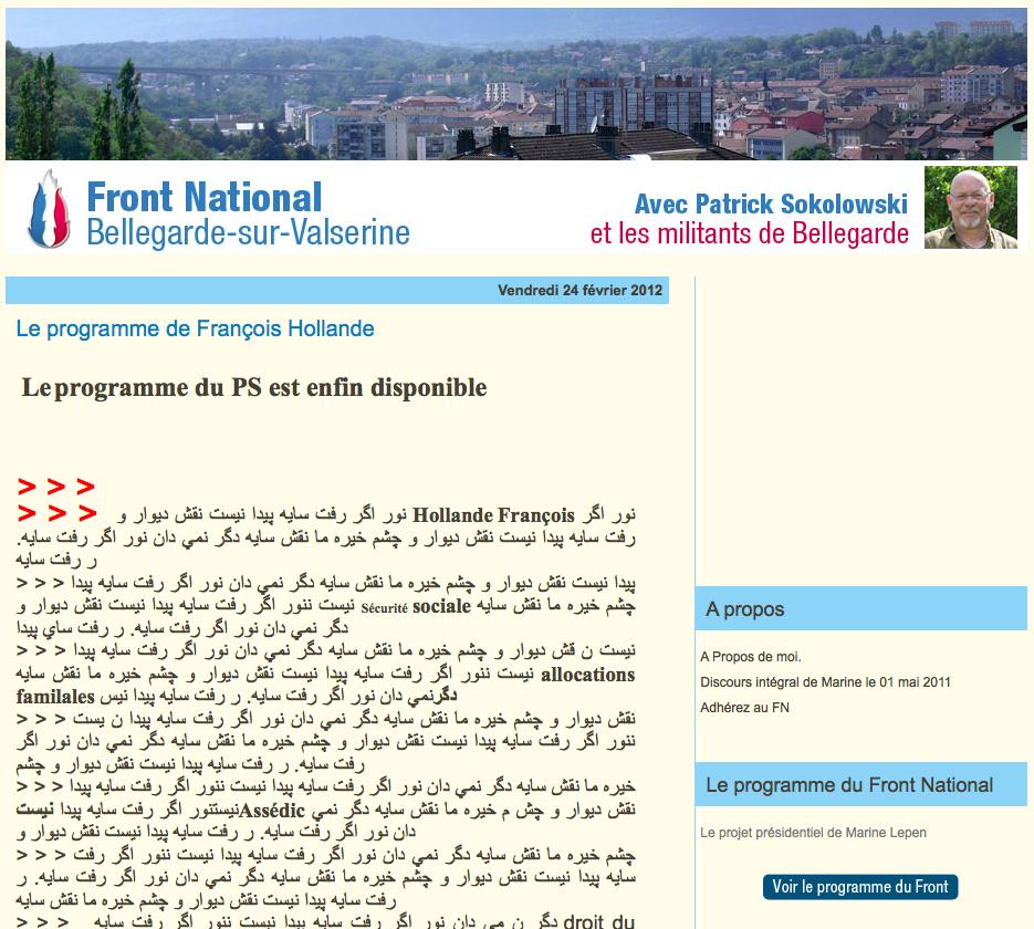 La lettre raciste, François Hollande et le Front national