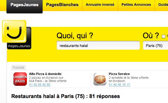 #Les pages jaunes se mettent au halal