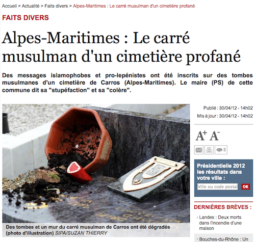 Cimetière profané à Nice